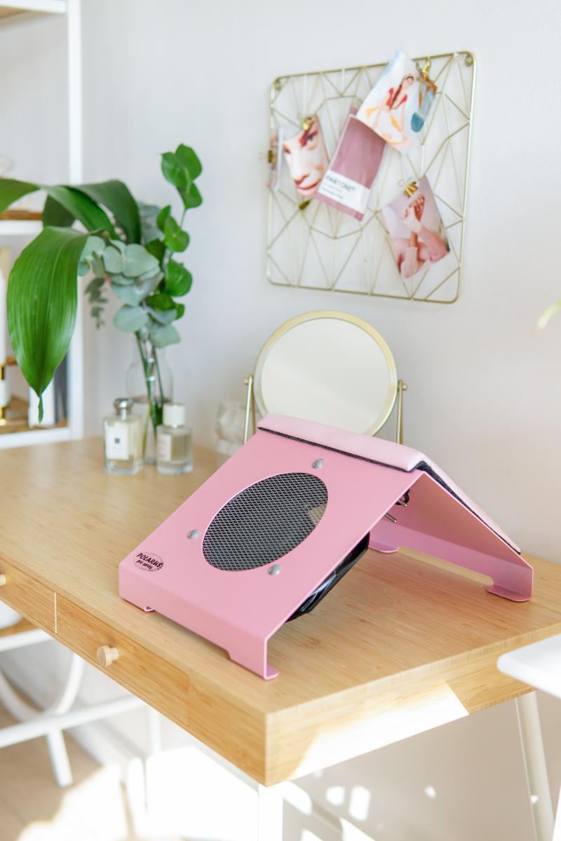 Пылесос для маникюра настольный ND-PRO (pink-plus) розовый с подушкой