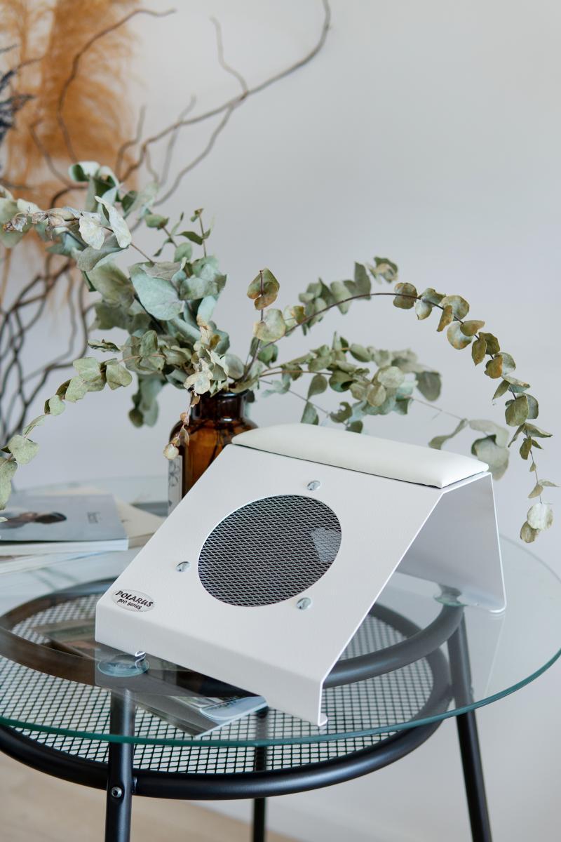 Пылесос-подставка для маникюра настольный ND-PRO (handbar-white-plus) с магнитной подушкой для рук